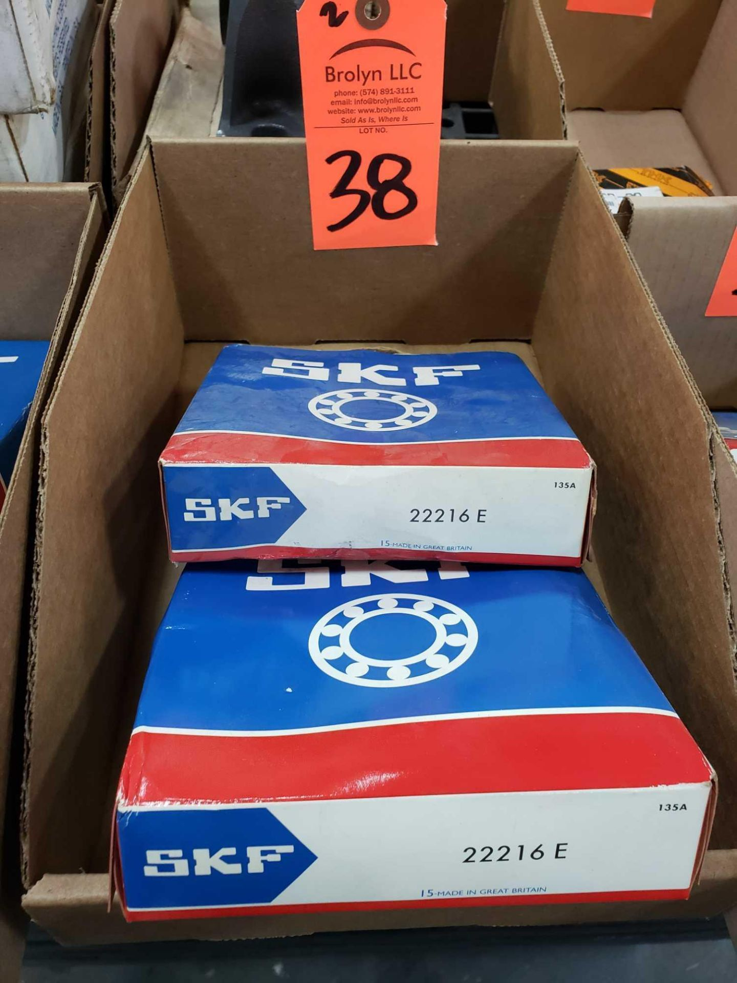 Lot 38 - Qty 2 - SKF bearings model 22216E. New in boxes.