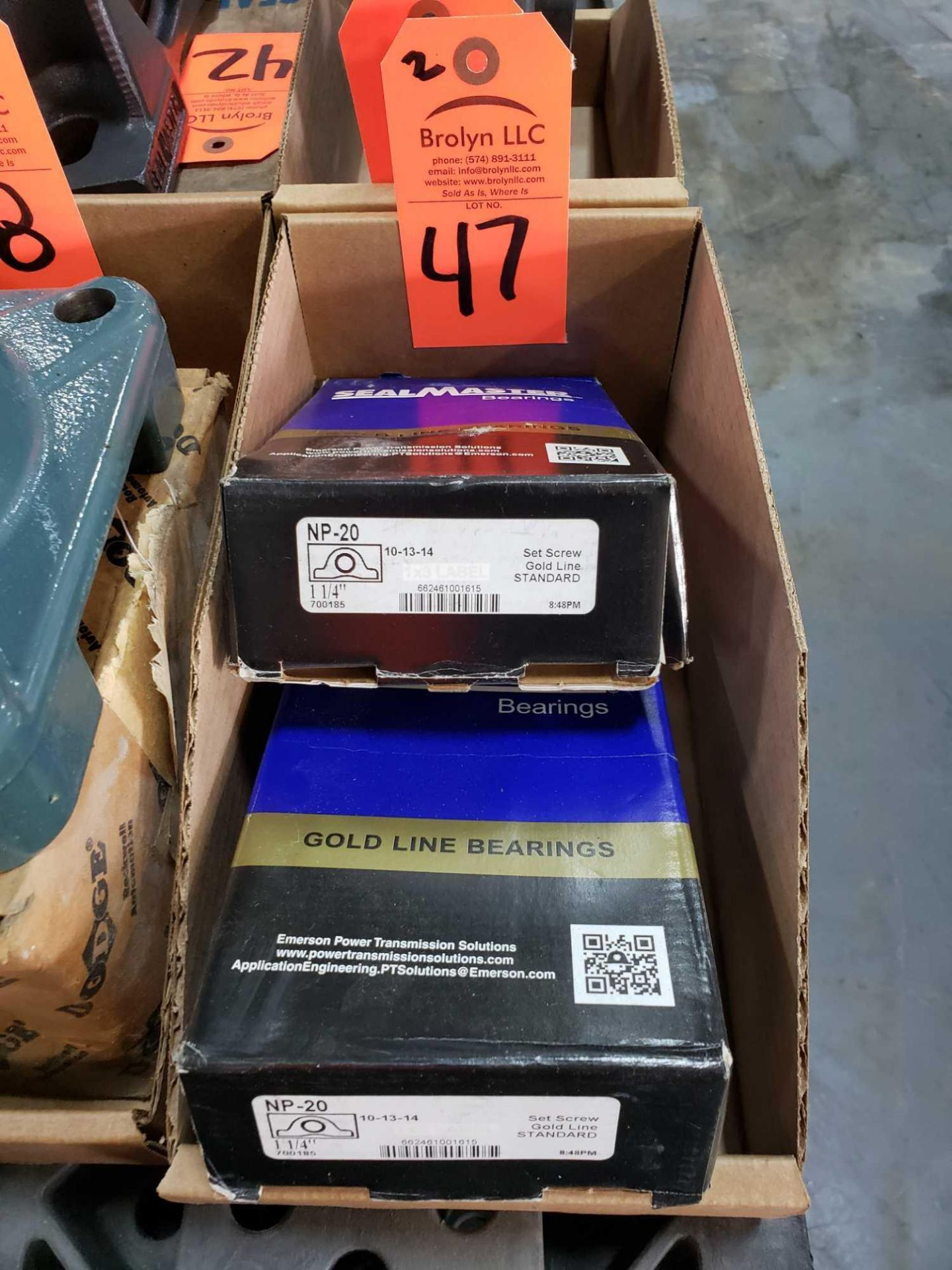 Lot 47 - Qty 2 - Sealmaster Model NP-20 bearings. New in boxes.