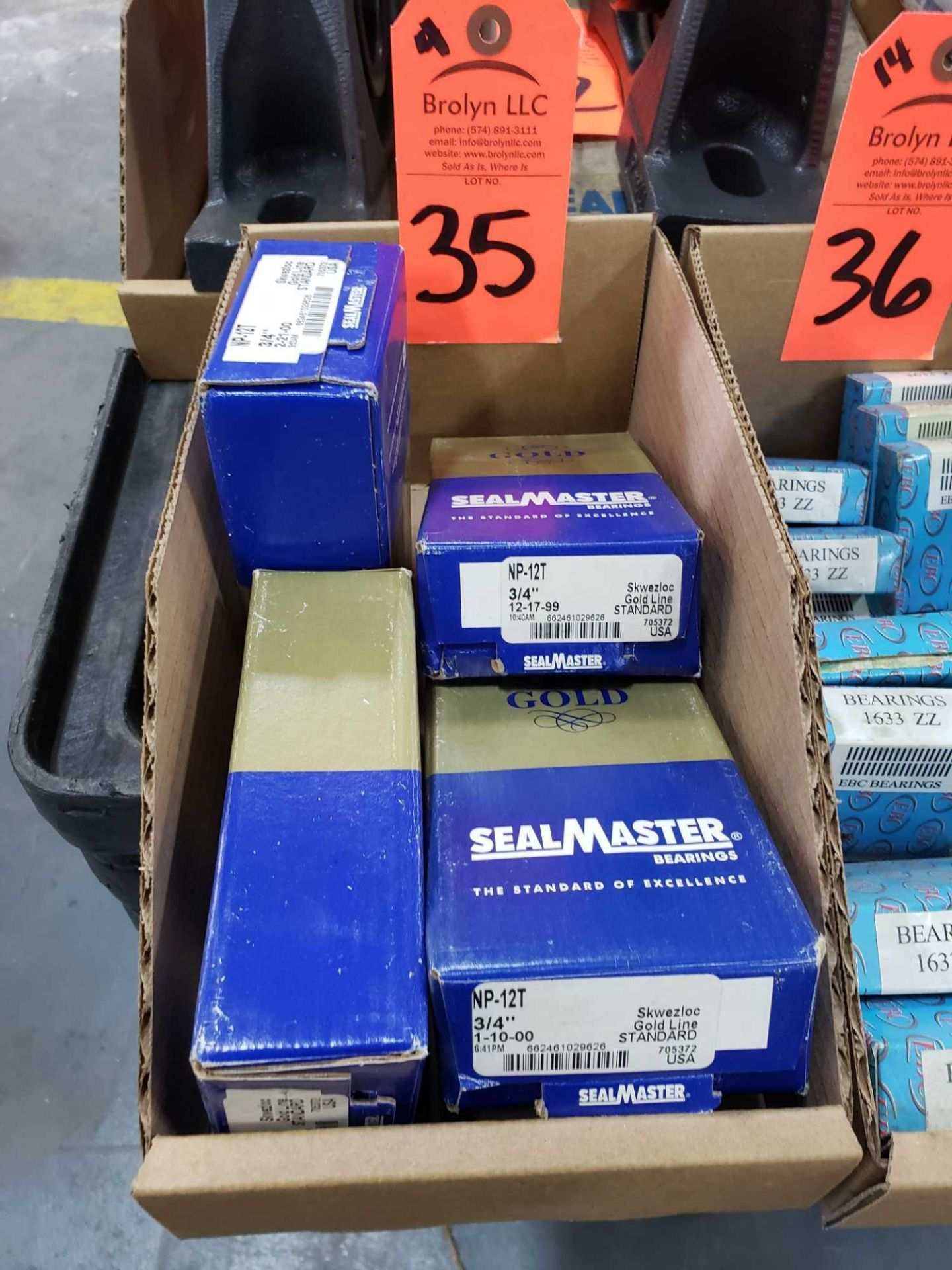 Lot 35 - Qty 4 - Sealmaster Bearings Model NP-12T. New in boxes.
