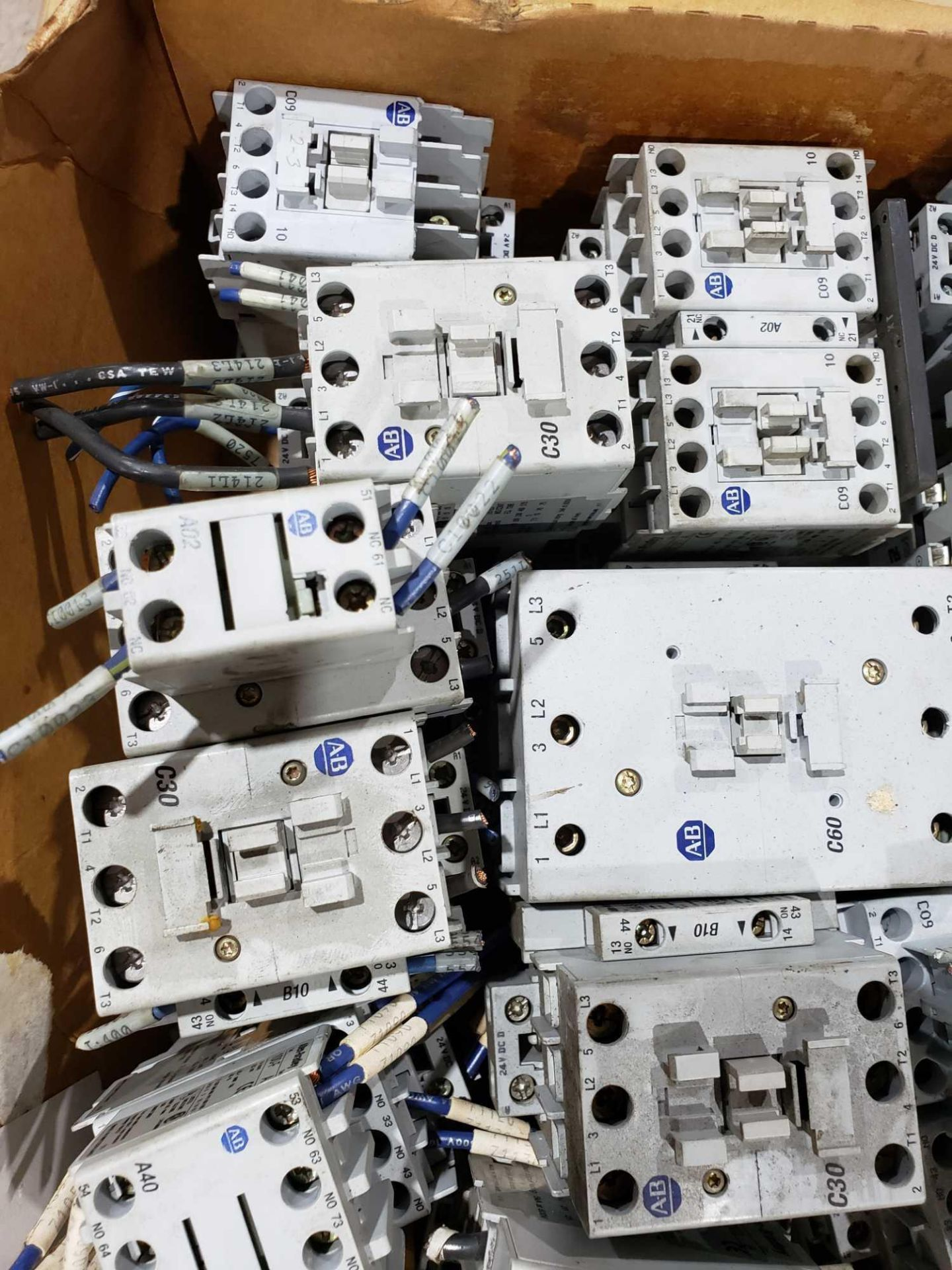 Lot 14 - Large Qty of Allen Bradley Contactors in assorted sizes and part numbers.