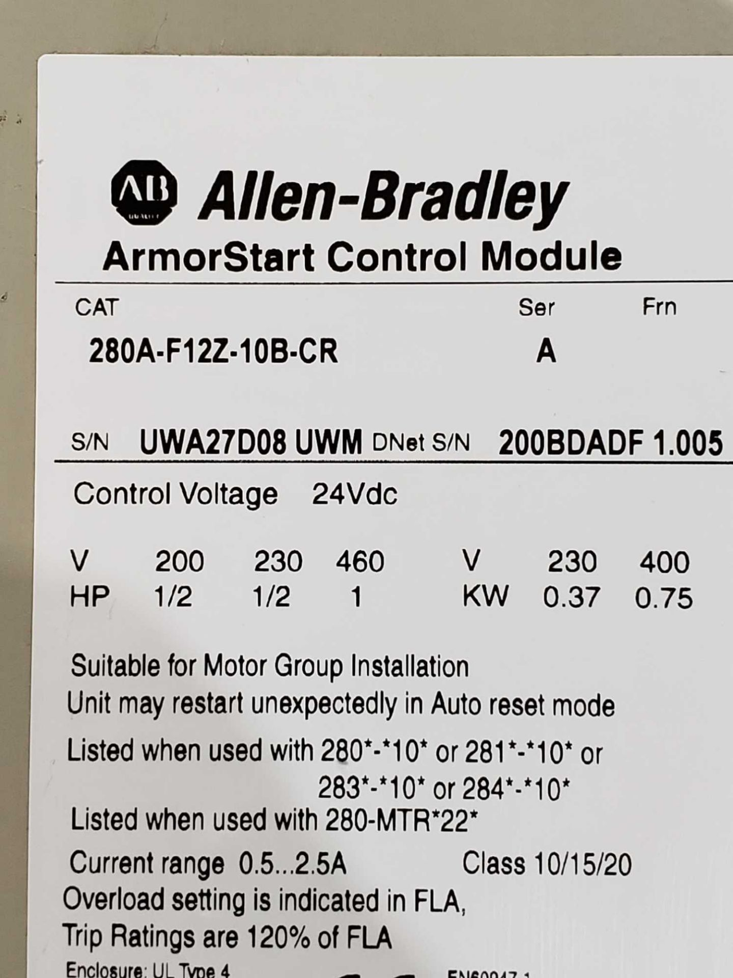 Lot 3 - Allen Bradley Armorstart Catalog 280A-F12Z-10B-CR with base Catalog 280D-FN-10-C.