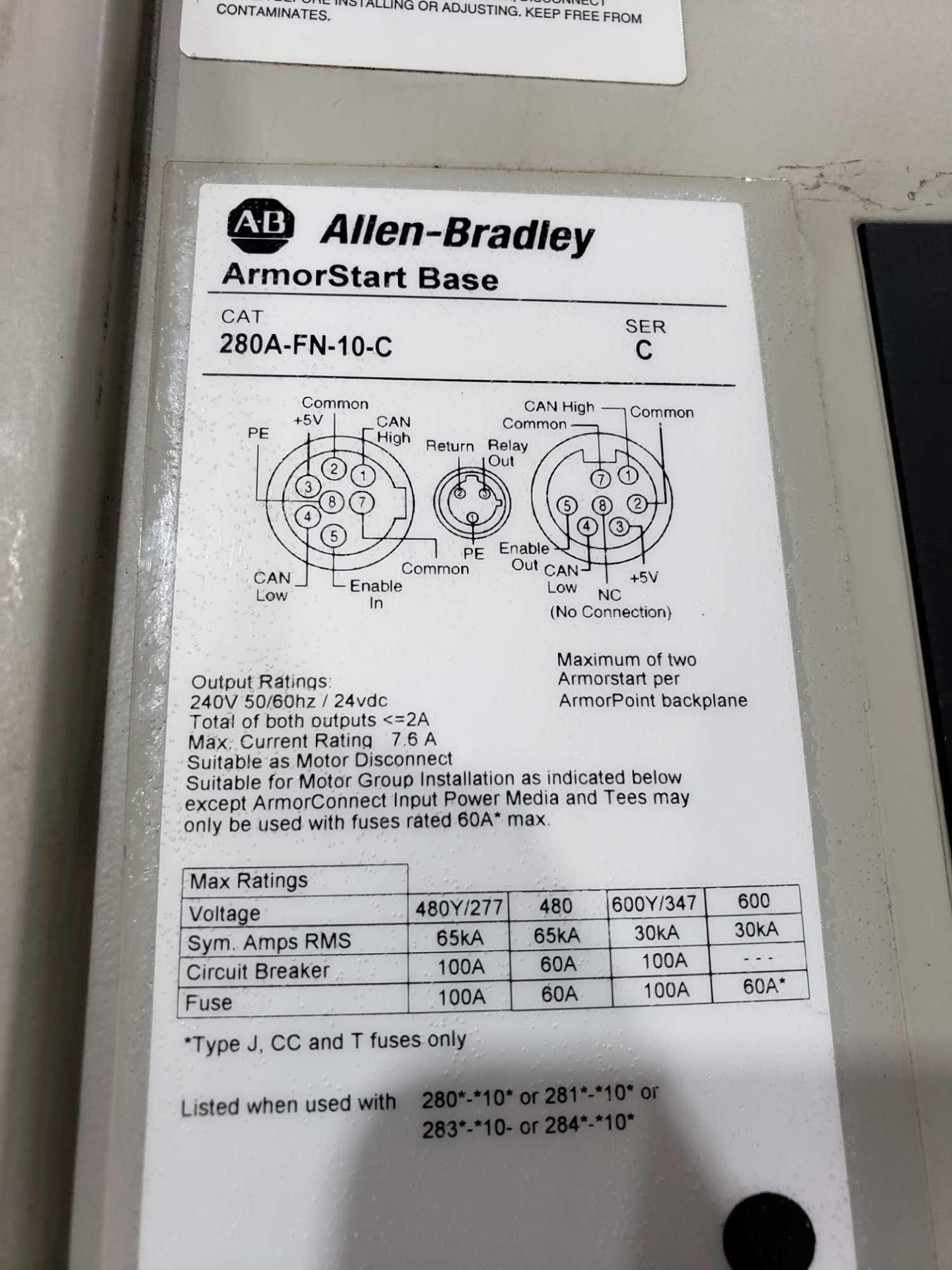 Lot 4 - Allen Bradley Armorstart Catalog 280A-F12Z-10A-CR with base Catalog 280A-FN-10C.