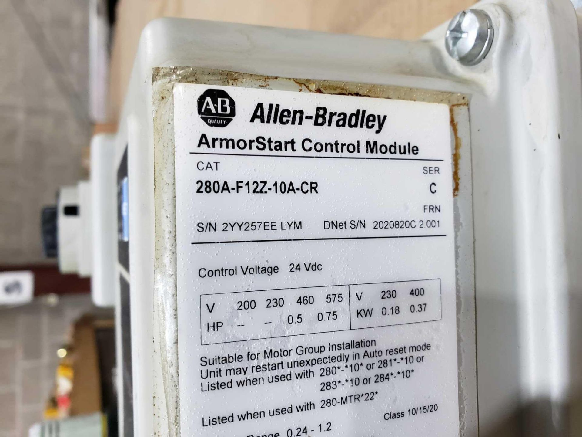 Lot 1 - Allen Bradley Armorstart Catalog 280A-F12Z-10A-CR with base Catalog 280A-FN-10C.
