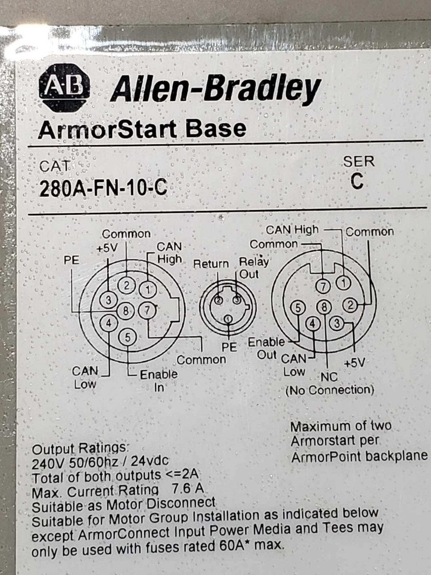 Lot 10 - Allen Bradley Armorstart Catalog 281A-F12Z-10A-CR with base Catalog 280A-FN-10-C.