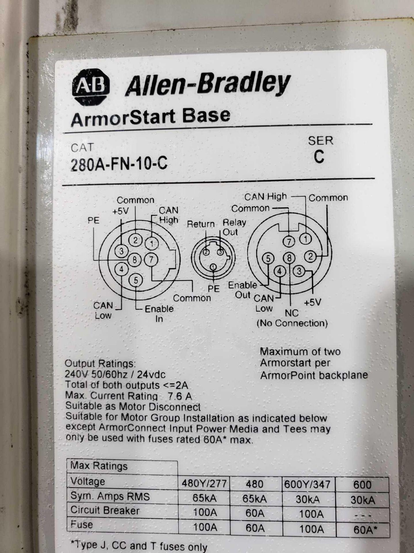 Lot 11 - Allen Bradley Armorstart Catalog 281A-F12Z-10A-CR with base Catalog 280A-FN-10-C.