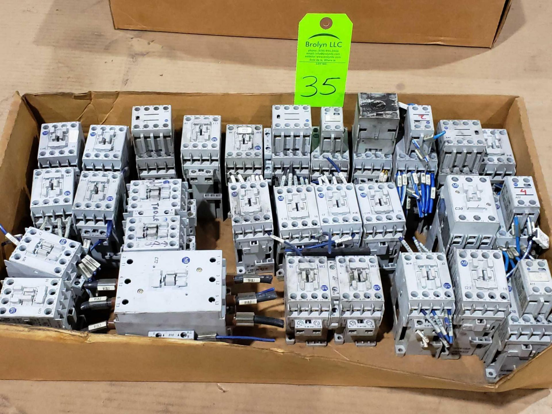Lot 35 - Large Qty of Allen Bradley Contactors in assorted sizes and part numbers.