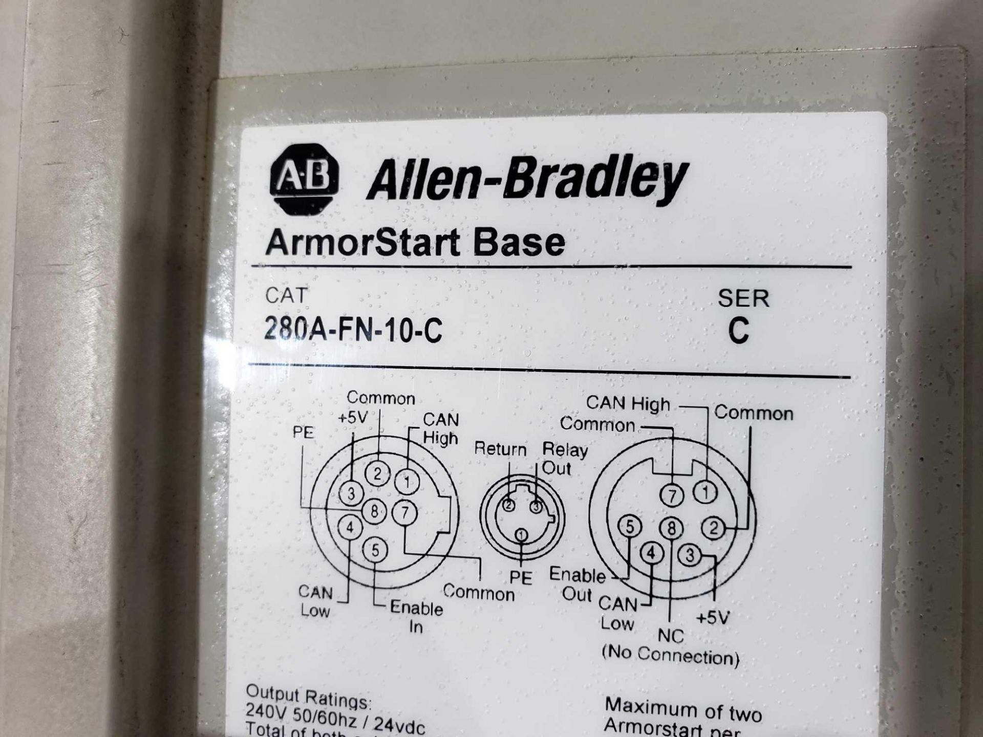 Lot 2 - Allen Bradley Armorstart Catalog 281A-F12Z-10A-CR with base Catalog 280A-FN-10C.