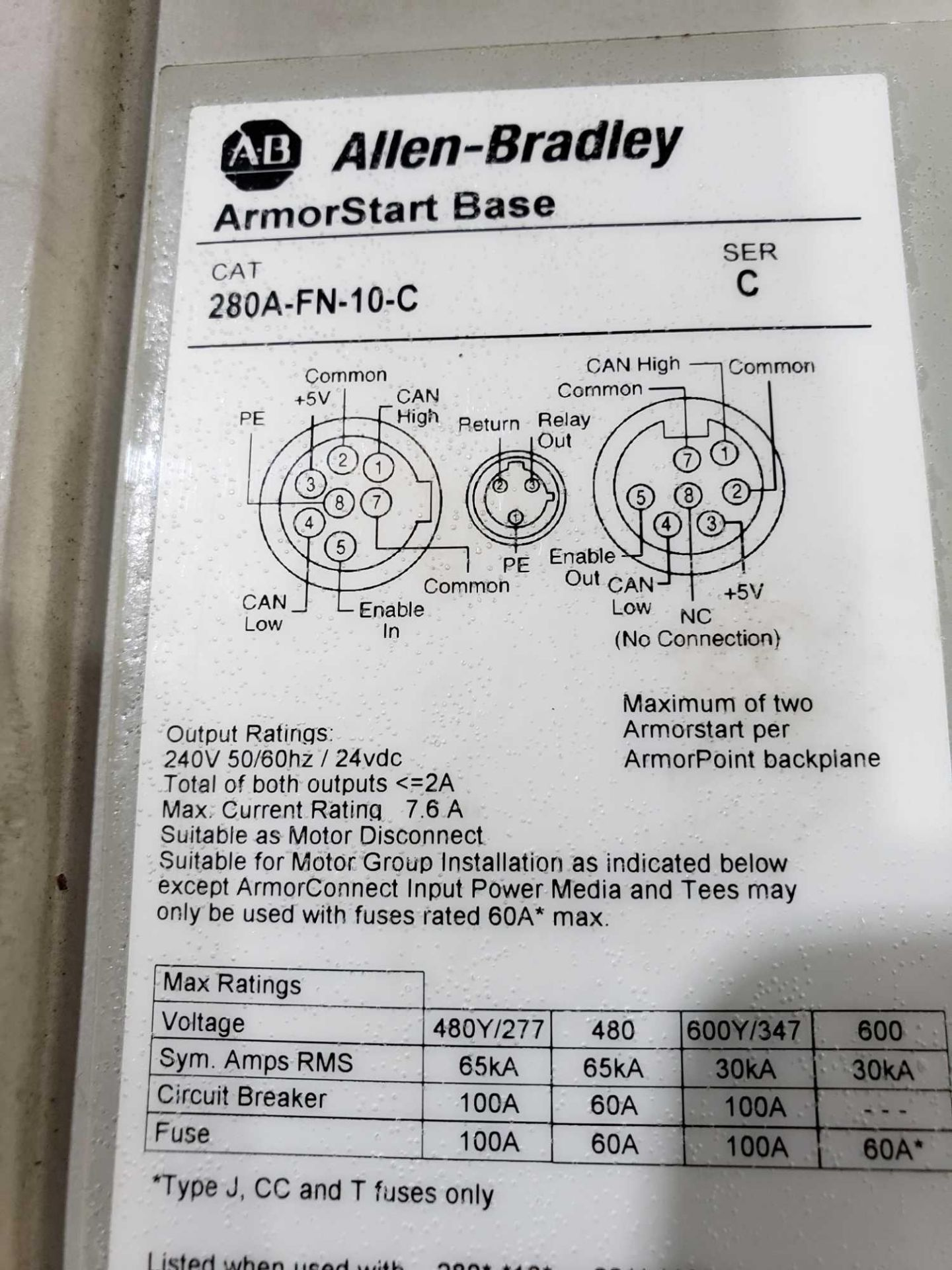 Lot 12 - Allen Bradley Armorstart Catalog 280A-F12Z-10A-CR with base Catalog 280A-FN-10C.