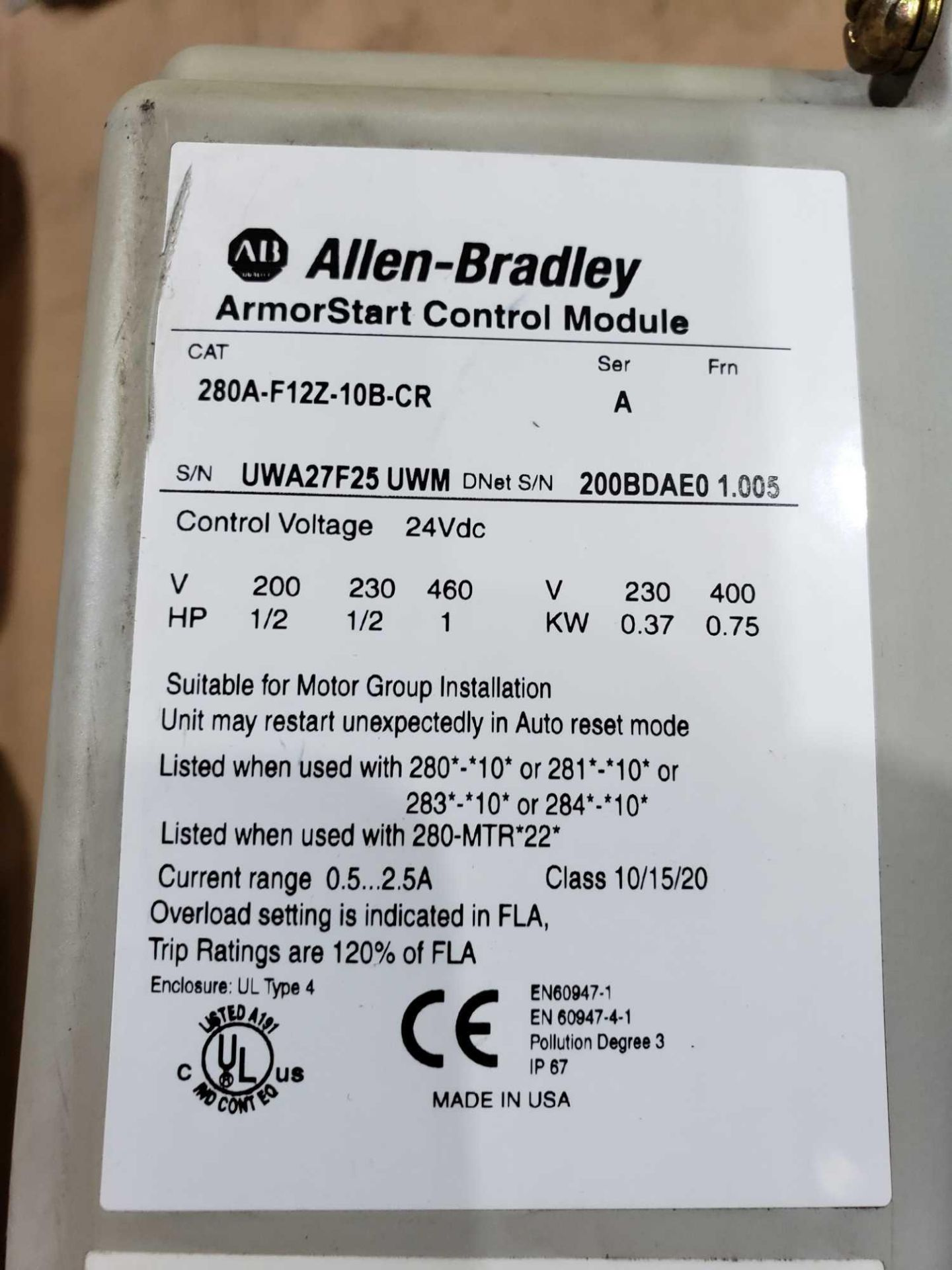 Lot 7 - Allen Bradley Armorstart Catalog 280A-F12Z-10B-CR with base Catalog 280A-F12Z-10B-CR.