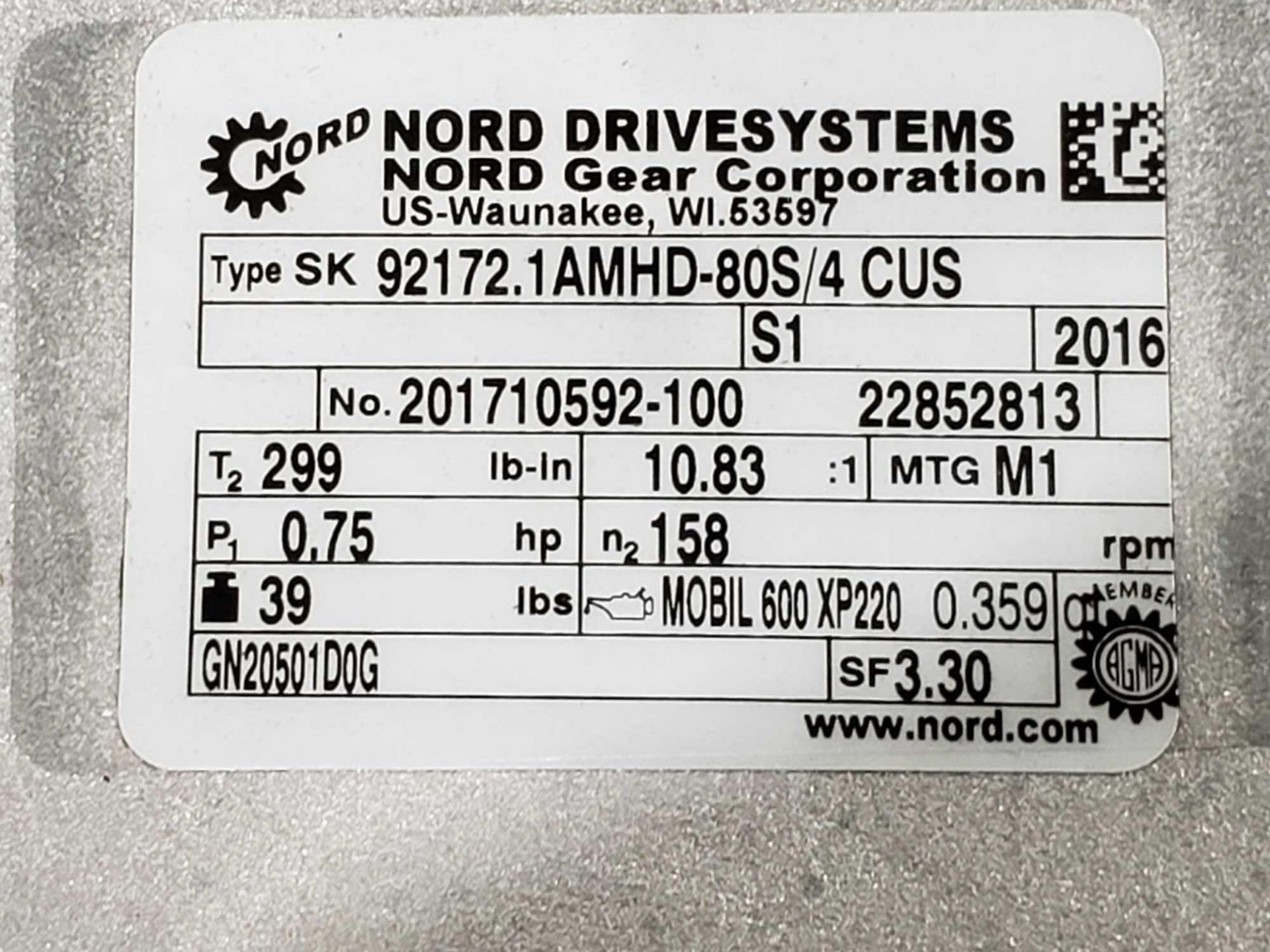 Lot 56 - Nord Systems 10.83:1 gear box and motor. Type SK92172.1AMHD-80S/4CUS and SK80S/4CUS. NEW.