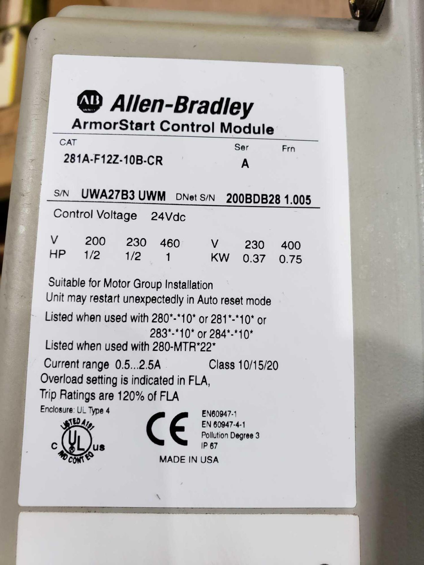 Lot 9 - Allen Bradley Armorstart Catalog 281A-F12Z-10A-CR with base Catalog 281A-F12Z-10B-CR.