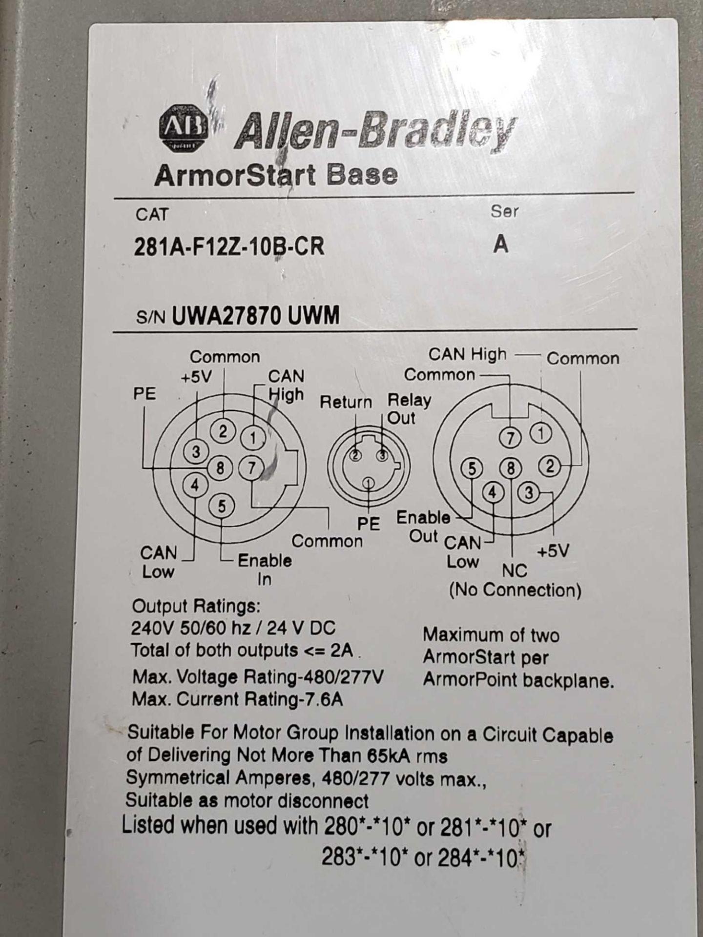 Lot 8 - Allen Bradley Armorstart Catalog 281A-F12Z-10B-CR with base Catalog 281A-F12Z-10B-CR.