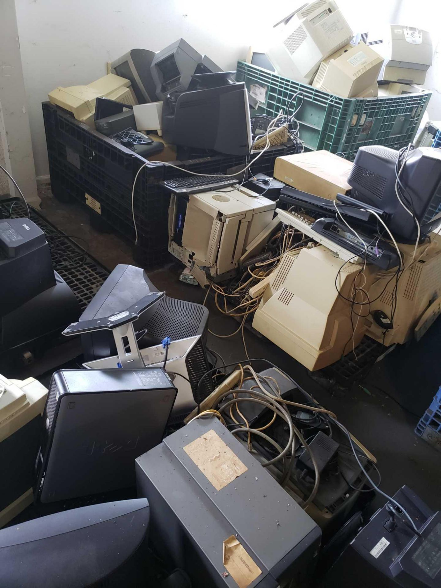 Lot 181 - Large Quantity of various computer monitors, towers, printers and more. Winner must take all.