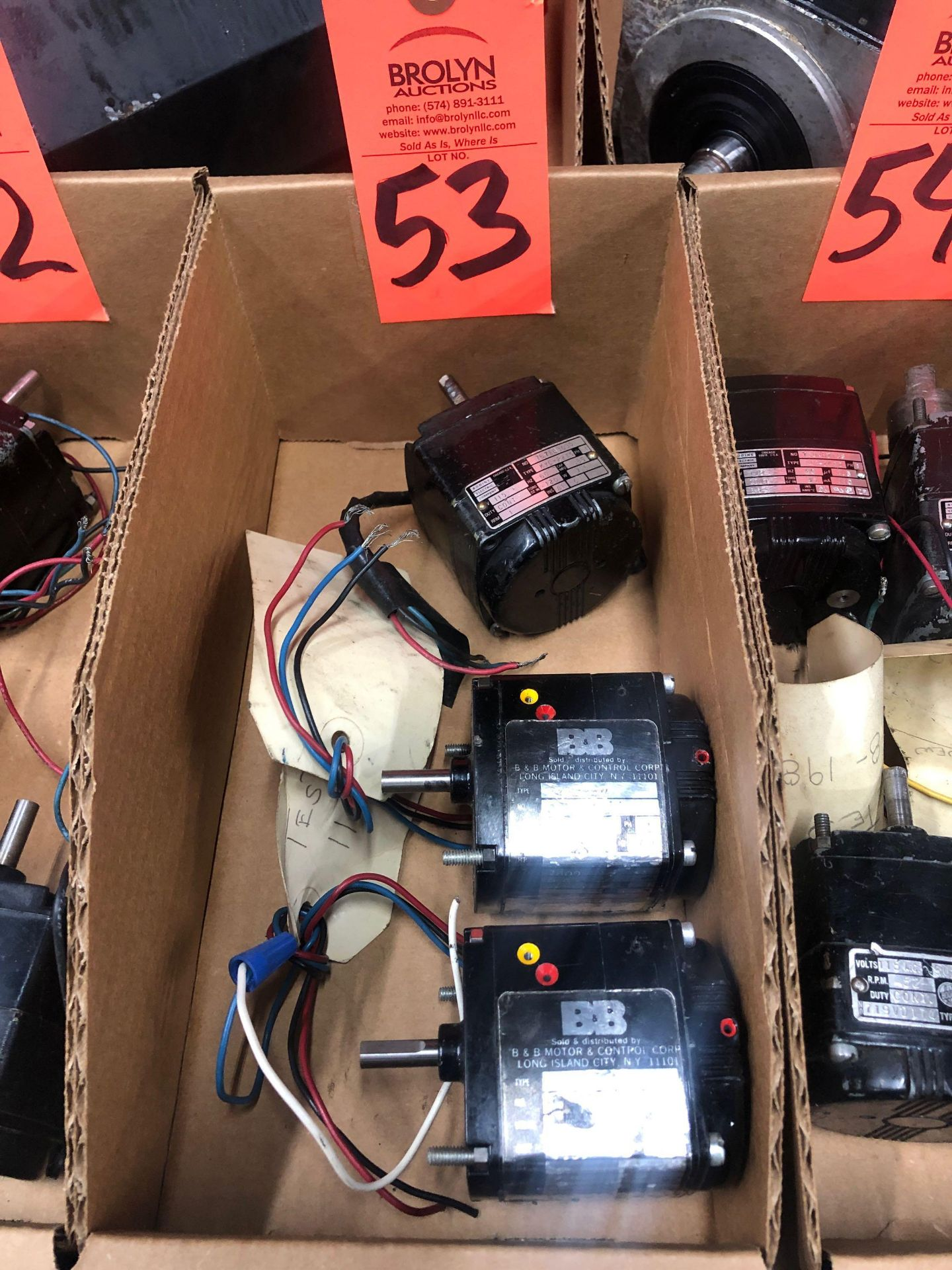 Lot 53 - Qty 3 - assorted Bodine motors as pictured.