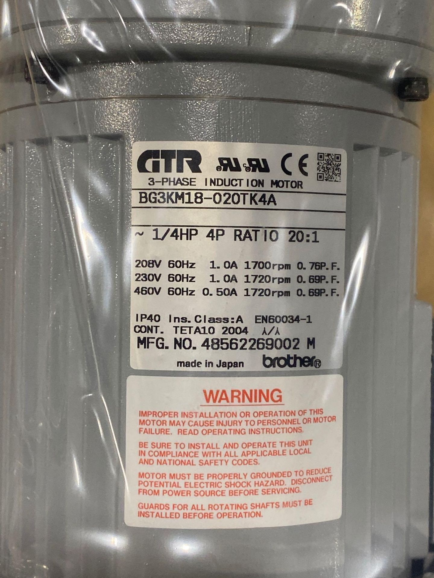 Lot 6 - Brother 3-phase induction motor model BG3KM18-020TK4A. New in box.
