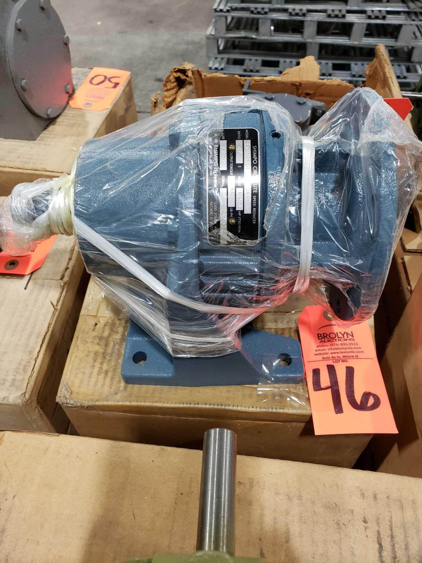 Lot 46 - Shimpo Circulate gear speed reducer model LMB0250015000000, ratio 47:1. New in box.