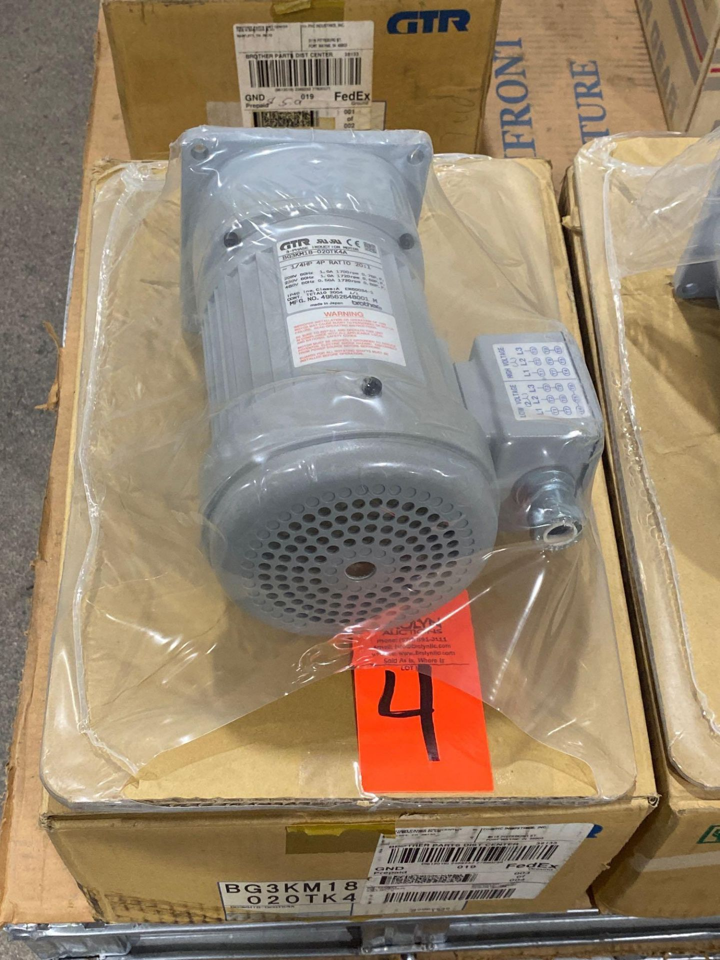 Lot 4 - Brother 3-phase induction motor model BG3KM18-020TK4A. New in box.