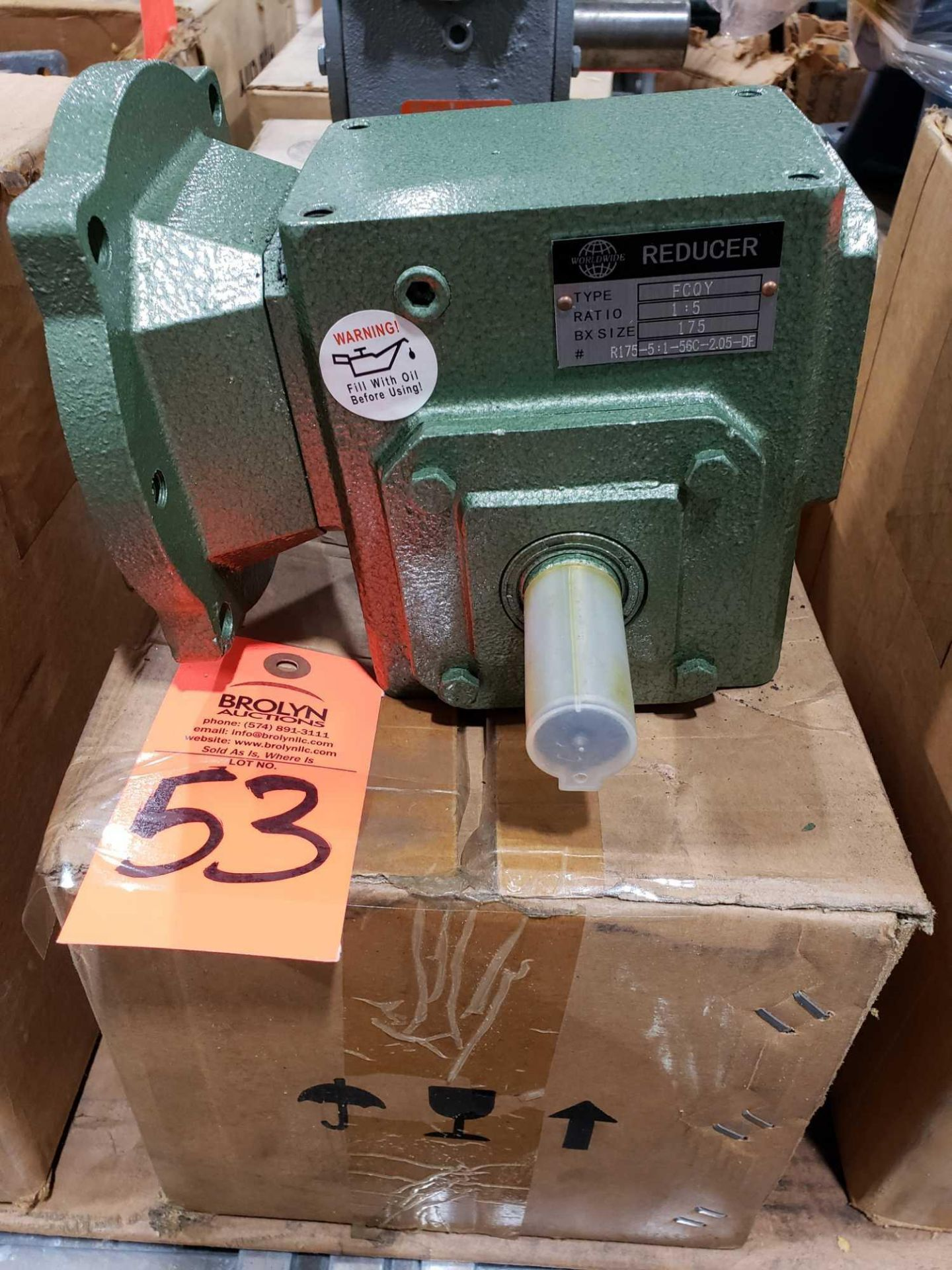 Lot 53 - Worldwide type FCQY gear box speed reducer 1:5 ratio, BX size 175. New in box.