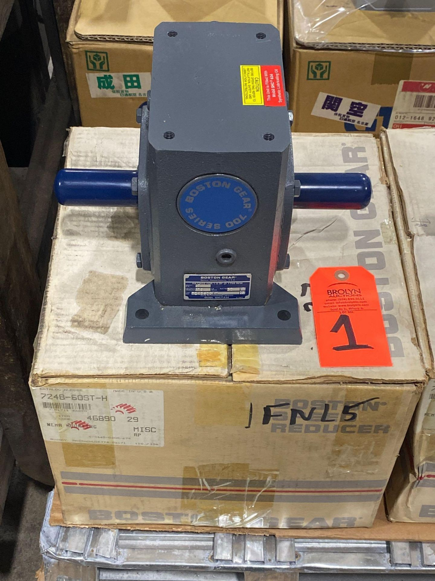 Lot 1 - Boston Gear catalog 724B-60ST-H gear box. New in box as pictured.