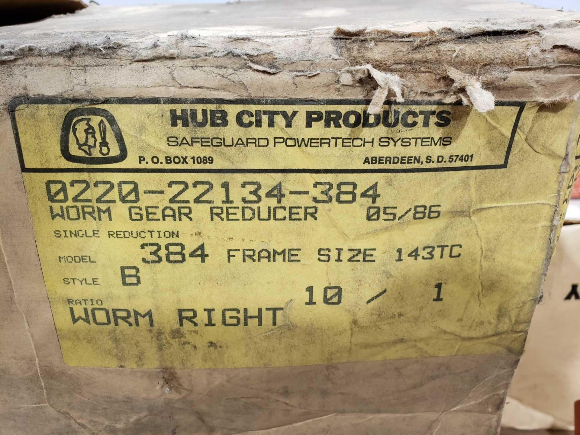 Lot 35 - Hub City model 0220-22134-384 worm gear reducer. Frame size 143TC. 10:1 ratio. New in box.