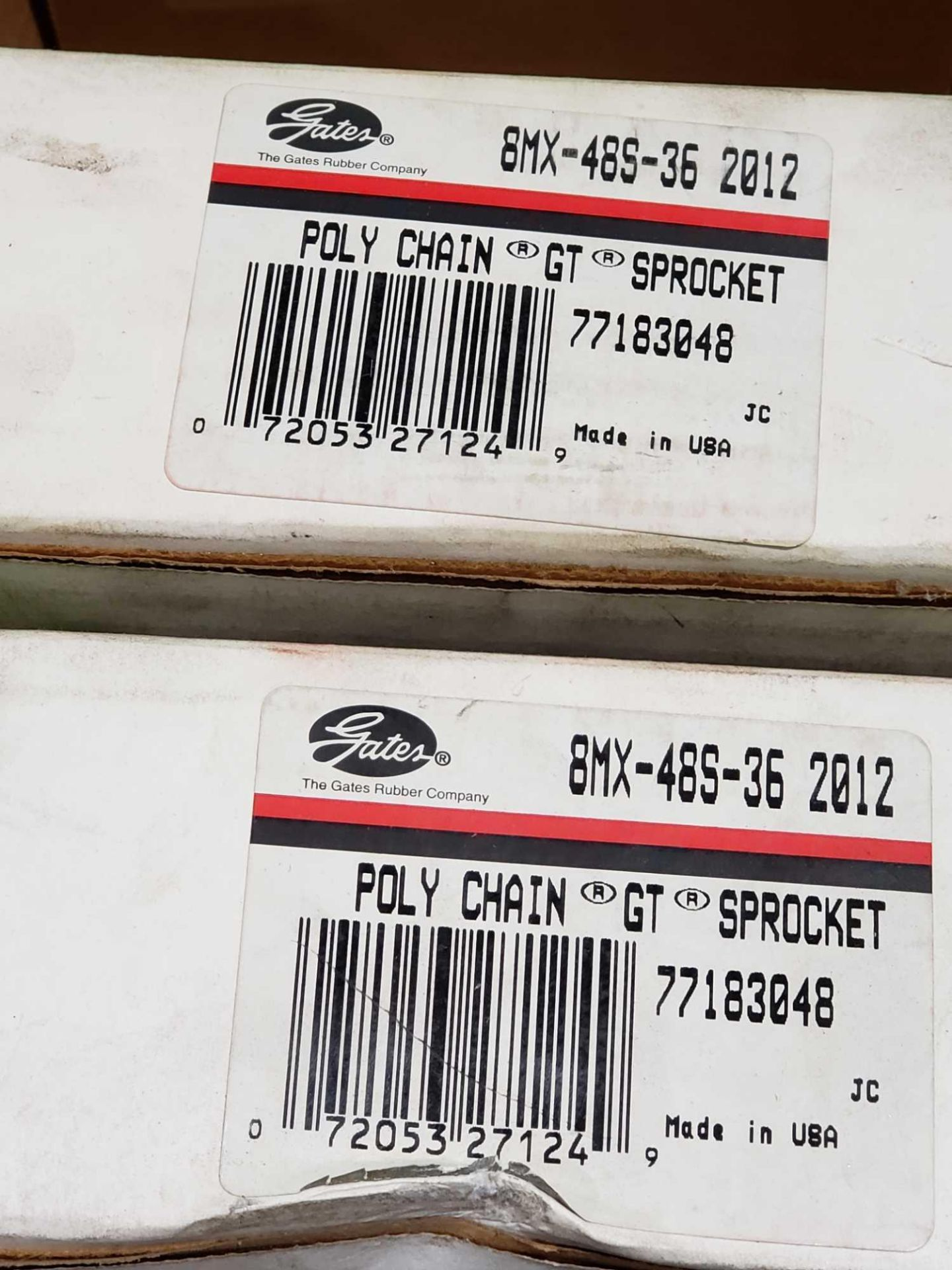 Lot 8 - Qty 2 - Gates poly chain GT sprocket model 8MX-48S-36-2012. New in box.