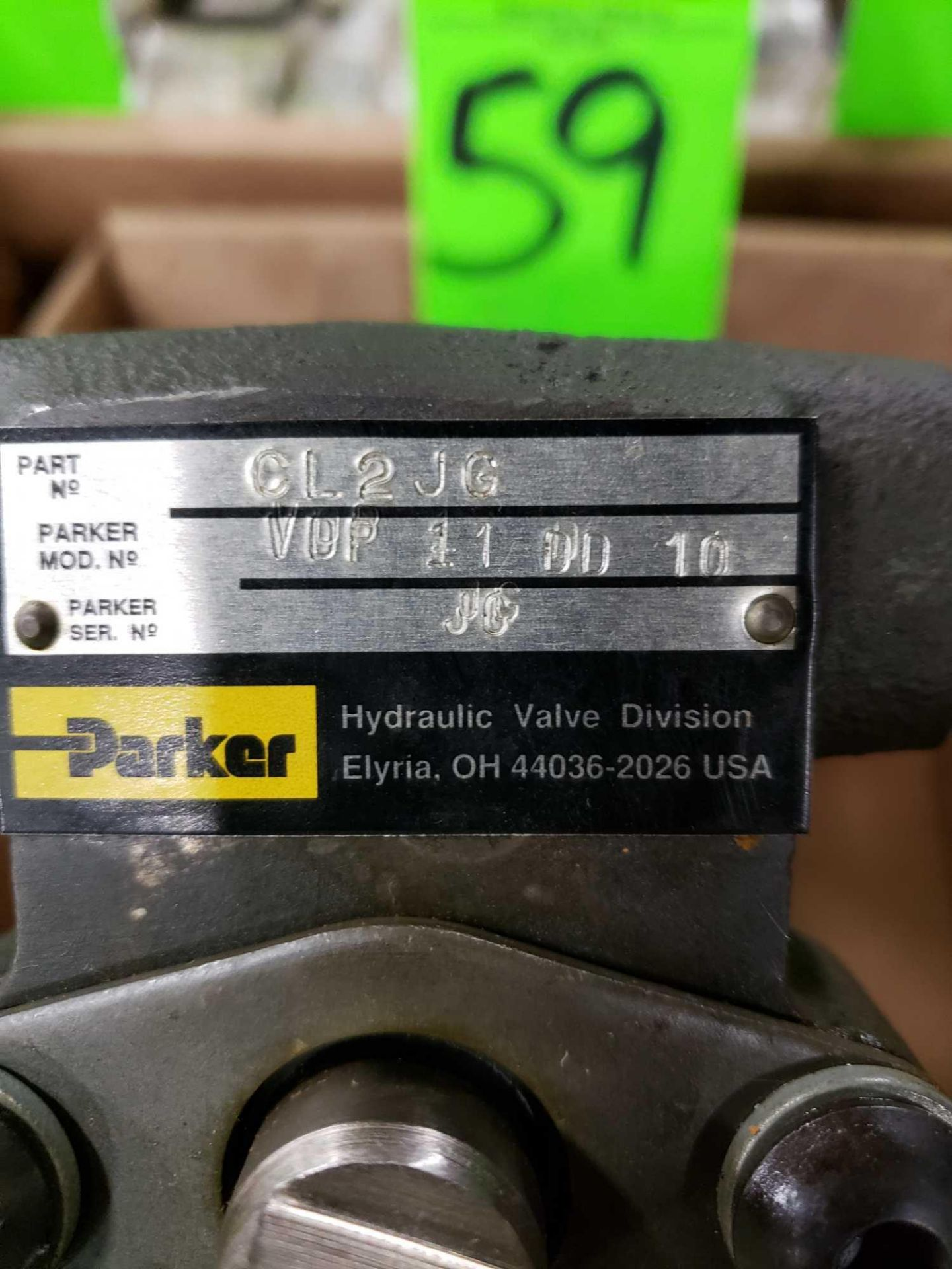 Lot 59 - Parker VDP-11-DD-10 hydraulic valve. Appears new.