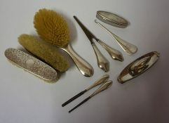 A Mixed Lot of Silver Manicure and Dressing Table Items, To include a silver backed three piece