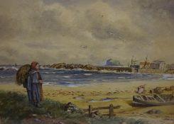 "W.B. Mitchell (Scottish Exh 1884-1902)) ""Picking Mussels on North Berwick Beach) Watercolour, signed"