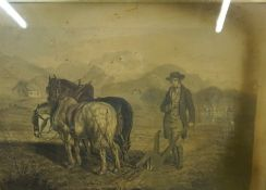 """Robert Burns """"Turning up a Mouse in a Nest with the Plough"""" Victorian Print, 39 x 60cm, in a"""