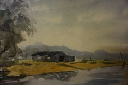 """D Forrow """"The Boatshed"""" Watercolour, signed lower left, 24 x 34cm, framed,"""