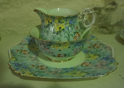 """A Shelley """"Melody"""" Pattern Six Piece Tea Set, To include biscuit plate, cream and sugar, 21 pieces"""