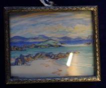 "Scottish School ""West Coast Coastal Scene, Probably Iona"""" Miniature Watercolour, Indistinctly"