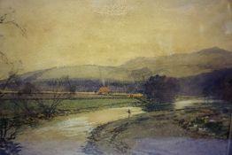 """Tom Scott (1854-1927) """"Fishing on the Ettrick"""" Watercolour, signed and dated 1919 to lower right,"""