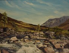 """R Keith Fraser (Scottish 20th Century) """"River Etive Inverness-shire"""" Oil on Board, 39 x 55cm,"""
