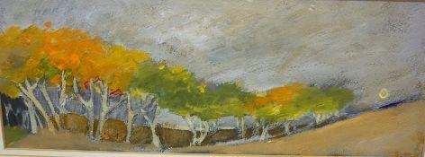 "Marie E Scott ( Scottish Contemporary) ""Treeline"" Watercolour, 14.5 x 40cm, framed"