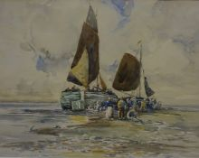"""Robert McGown Coventry RSW ARSA (Scottish 1855-1914) """"Unloading the Catch"""" Watercolour, signed lower"""