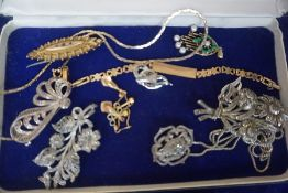A Mixed Lot of Gold and Costume Jewellery, To include a Victorian 9ct gold brooch, a gold chain,