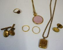 A Mixed Lot of Gold and Yellow Metal Jewellery, To include two 22ct gold bands, weighing 1.8