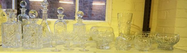A Quantity Of Crystal Wares, To include seven assorted decanters, vase and bowls, also with six