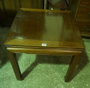A Chinese Style Occasional Table, 56cm high, 60cm wide, also with a corner what not, (2)