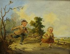 """Continental School """"Children Playing with Farm Animals"""" Oil on Board, a pair, circa 19th century,"""