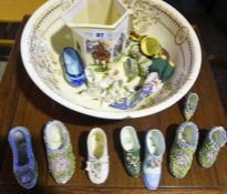 A Mixed Lot of Porcelain Shoe Ornaments, To include Continental examples, also with a toilet basin