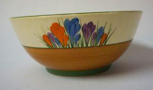 "A Clarice Cliff Bizarre ""Crocus"" Pattern Bowl, For Newport Pottery, 8cm high, 19cm diameter"
