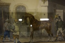 """After J.Harris """"Horse Dealing No1 and 2"""" Pair of Aquatints, 28 x 40cm, framed, also with a similar"""