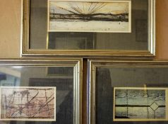 R.T.H. Smith Three Mixed Media Abstract Pictures, 8 x 14 and 8 x 21cm, framed, (3)