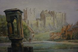 "Frank Watson Wood Jnr (British 1900-1985) ""Bamburgh Castle"" Watercolour, Signed Watson Wood to lower"