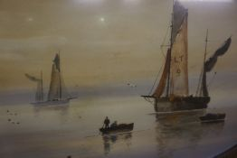 """""""Boating Scenes"""" Watercolours, A pair, 39 x 66cm, in gilt frames, (2)"""