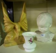 A Scottish Contemporary Wood Sculpture of a Bird, 33cm high, also with a plaster bust of a boy and a