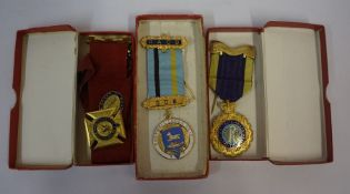 A Quantity of Assorted Lodge and Masonic Aprons and Medals, To include some silver gilt examples