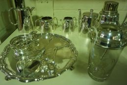 A Quantity Of Silver Plated Wares, To include a four piece hotel tea set, a cocktail shaker, a